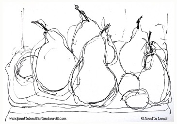 A drawing of pears