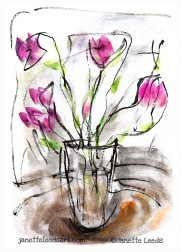 Brush pen flower drawing