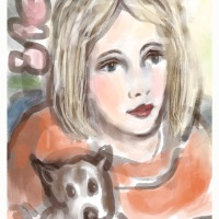 Woman with Dog - Gouache and a Bit of Pencil in Procreate