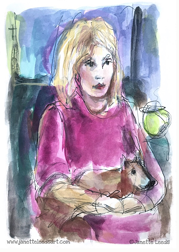 Woman with dog painting