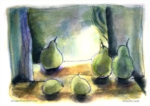 Watercolour and Ink pen of pears