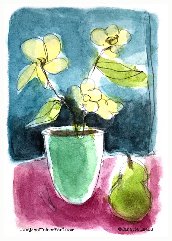 Flower and pear painting