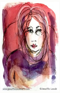 Watercolour and ink pen painting