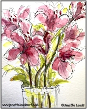 Ink pen and watercolour flowers