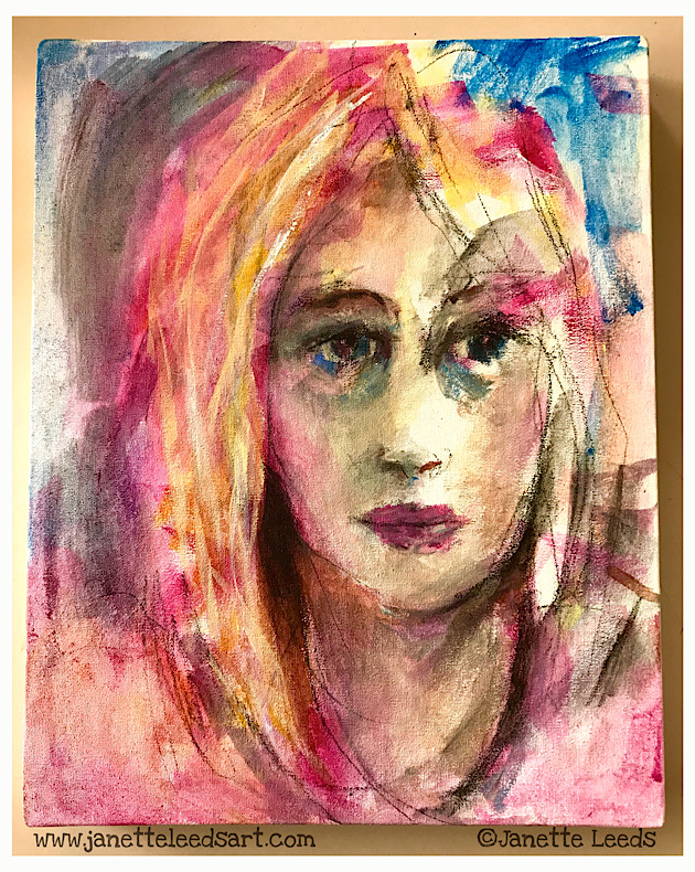 Acrylic painting of a woman's face
