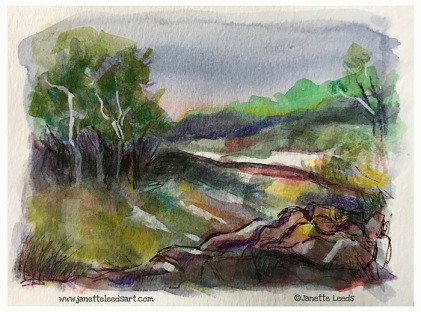 Landscape painting in watercolour.