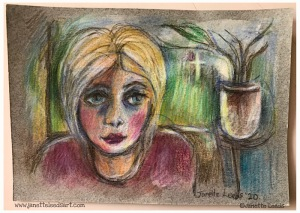 Woman's face in coloured pencil...