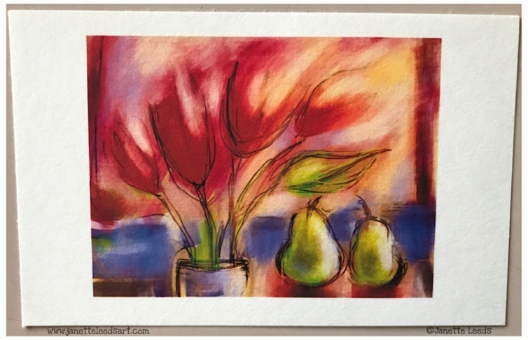 Flowers with pears drawing