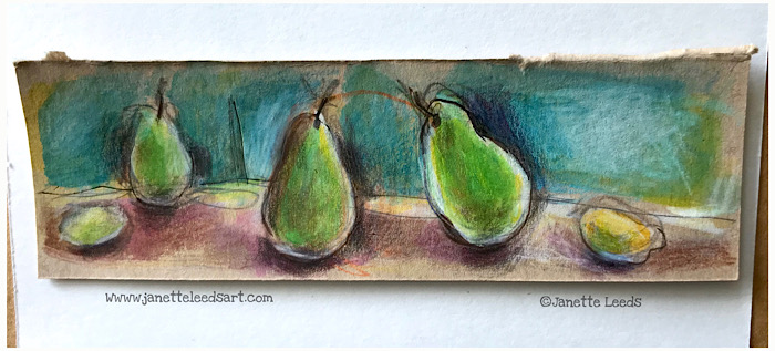 Tiny pear drawing in coloured pencil on toned tan paper.