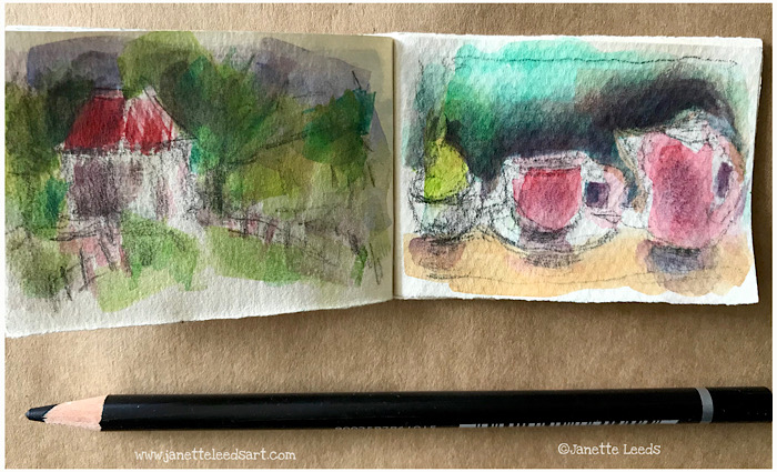 Still life drawing and landscape sketch