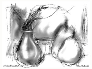 Pears and vase drawing