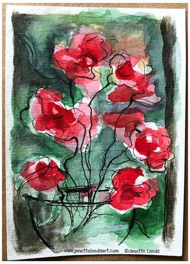 Ink pen and watercolour. 10cm x 7cm