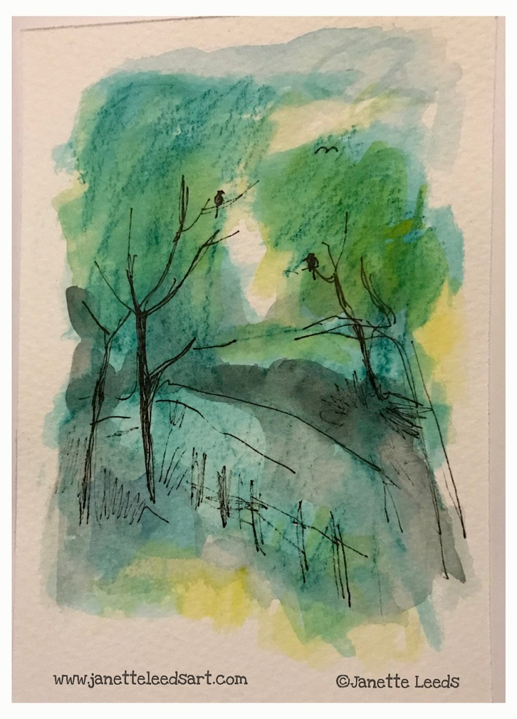 Landscapes in inkpen and watercolour