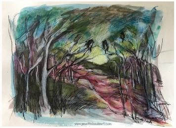 Watercolour, inkpen, coloured pencil...